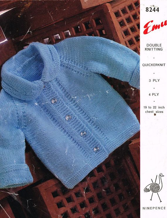 Emu 8244 vintage baby matinee coat vintage knitting pattern PDF instant download