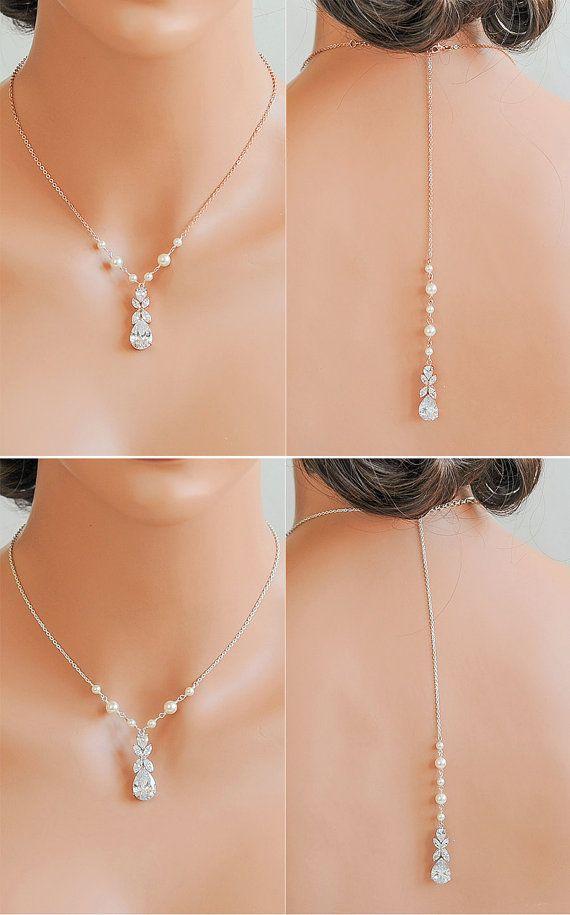 Backdrop Bridal Necklace, Back Drop Pearl Wedding Necklace, Crystal Y Drop…