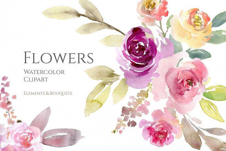 Watercolor Pink Purple Flowers And Bouquets Png 189240 Illustrations Design Bundles Watercolor Flowers Pink Watercolor Flower Purple Flowers Garden