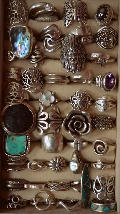 Small obsession with rings - Vintage Boho Silver Rings | Hippie Bohemian Jewelry | 1960s Tribal | Turquoise Stones