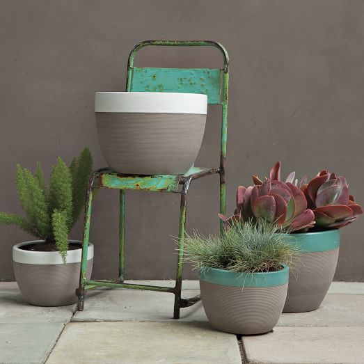 Upgrade terracotta pots with grey and white or turquoise strip.