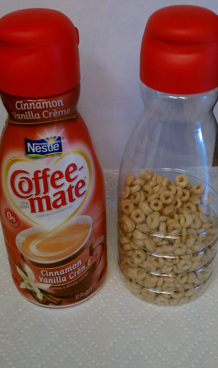 Repurpose empty creamer containers!  Holy cow!  I could've had so many coffee creamers by now!!  Well, I'm saving them now!!!!!!!