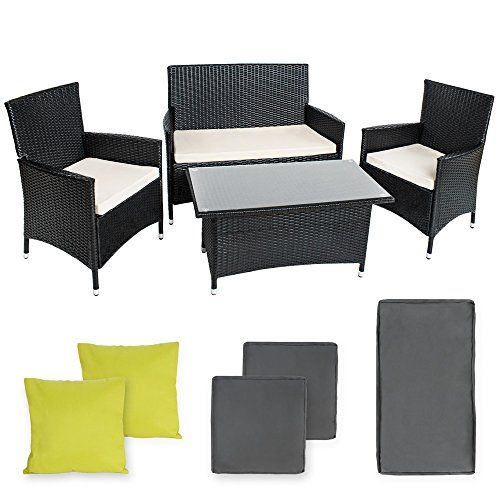 TecTake POLY Rattan Aluminium garden furniture garden set in anthracite   2 sets for exchanging the upholstery   2 Extra Pillows, stainless steel screws