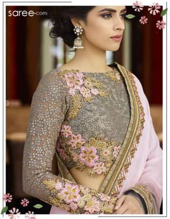 Grey and Pink Silk Saree with Resham Embroidey Work - 15