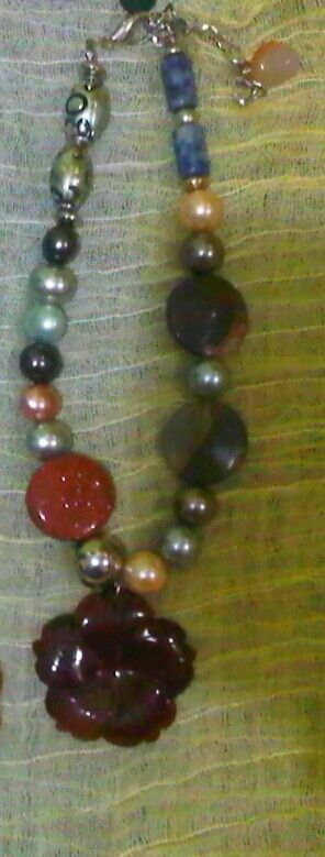 Gemstone necklace: The meeting of gemstones, metal and pearl by Wita Anggraini-Indonesia