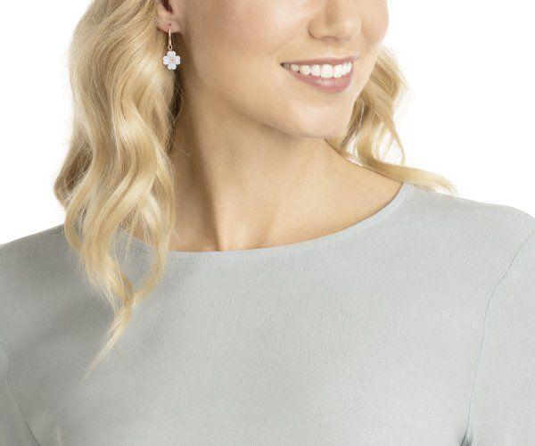 8c2bd08ba2bff Latisha Pierced Earrings, White, Rose gold plating | Wedding | Rose ...