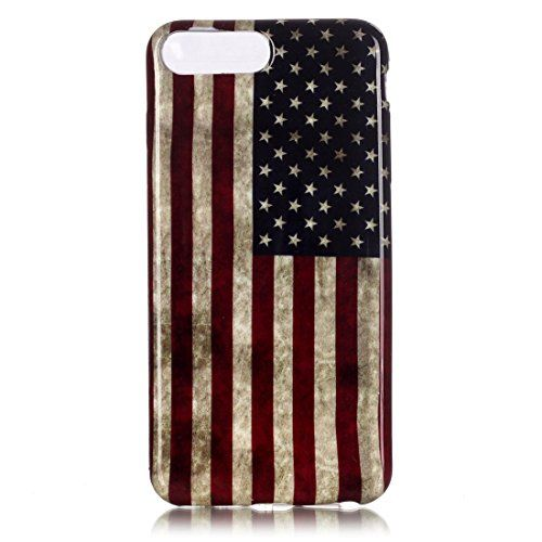 iPhone 7 Plus Case, Apple iPhone 7 Plus Case, Love Sound [Vintage American Flag] Slim Fit [Drop Protection] [Shock Absorbent] Premium Flexible Soft TPU Case Slim Case for Apple iPhone 7 Plus (2016)