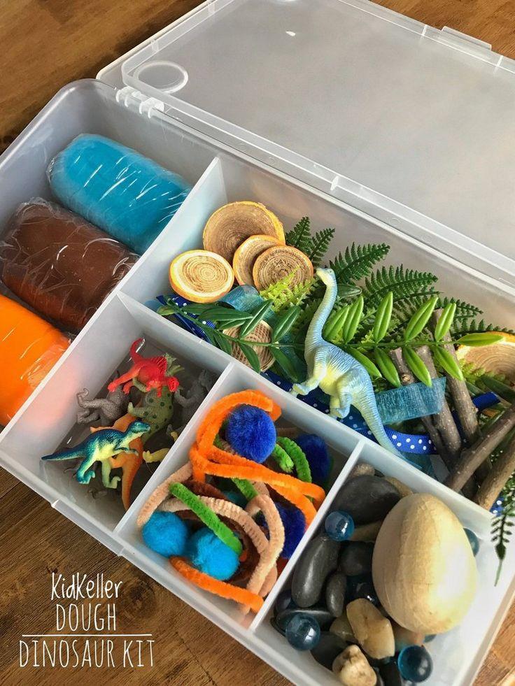 Dinosaur KidKeller Play Dough Kit Tinker Tray Sensory
