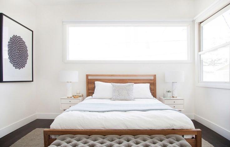 Modern Master Bedroom with West Elm - Pillar Table Lamp, Marble Base, Hardwood floors, Crate & Barrel Linea Bed
