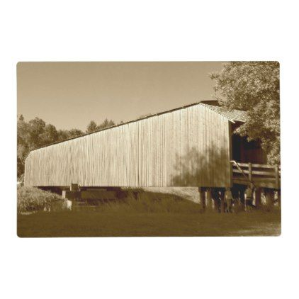 Vintage Covered Bridge Sepia Photo Placemat - home gifts ideas decor special unique custom individual customized individualized