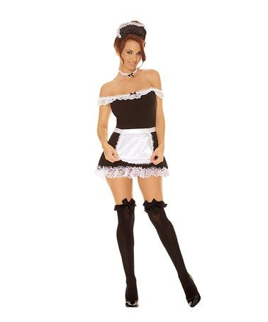Another great find on #zulily! Black & White Lace Maid Costume Set - Plus #zulilyfinds
