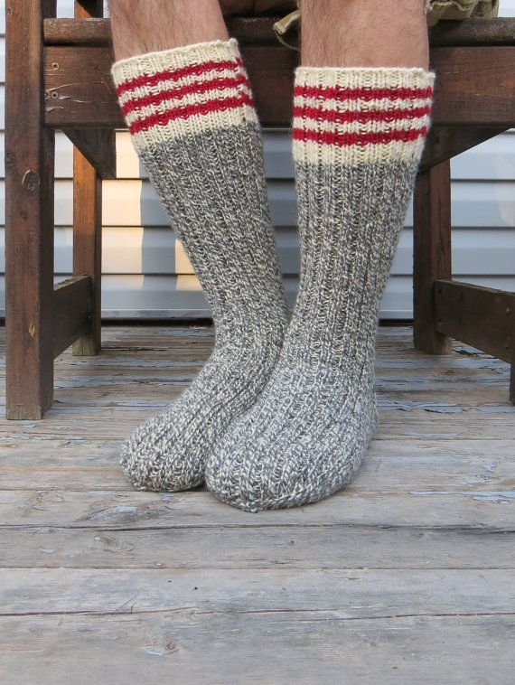 Knit Wool Socks Hand Knit Mens Grey White Twist with Red Stripes Heavy Work Socks  $39.88 USD | Mens gift ideas