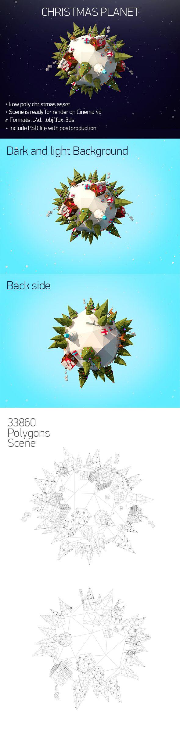 Low Poly Christmas planet 3D Models Design Template #cinema4d #3D Download here: https://3docean.net/item/christmas-planet/13794031?ref=yinkira