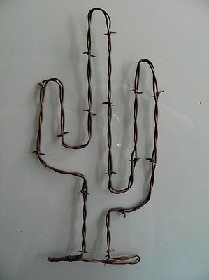 "Rusty Barbed Wire Cactus Art~ 11"" Tall ~ Cowboy Rustic South Western Wall Decor in Collectibles, Cultures & Ethnicities, Western Americana 