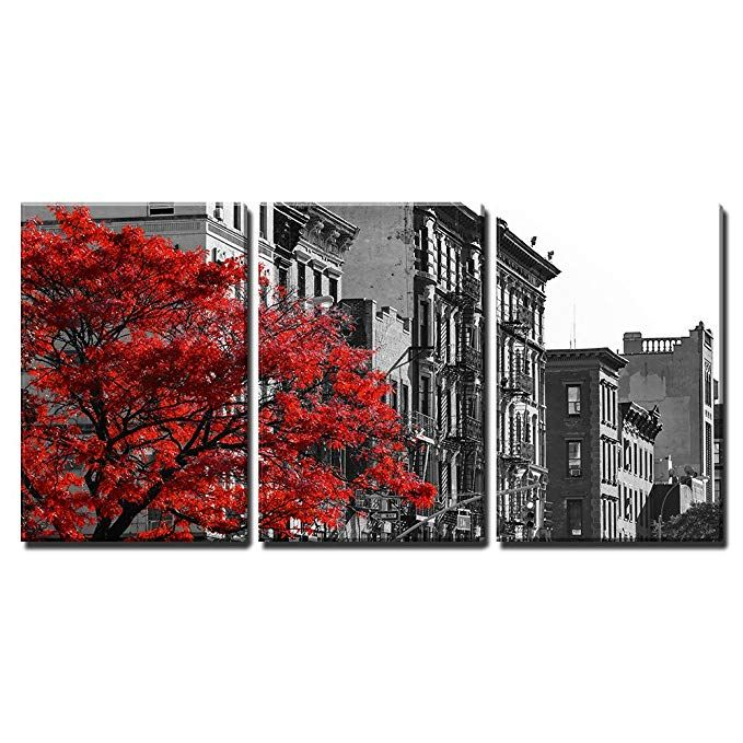Amazon Com Wall26 3 Piece Canvas Wall Art Red Fall Tree In Black And White Nyc Street Scene Modern Home D Canvas Art Wall Decor Street Scenes Nyc Street