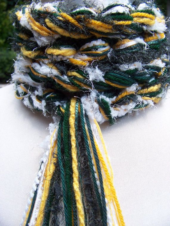 GREEN BAY Packers NFL Scarf Hand Knit Pippy Scarf by sewstacy, $20.00