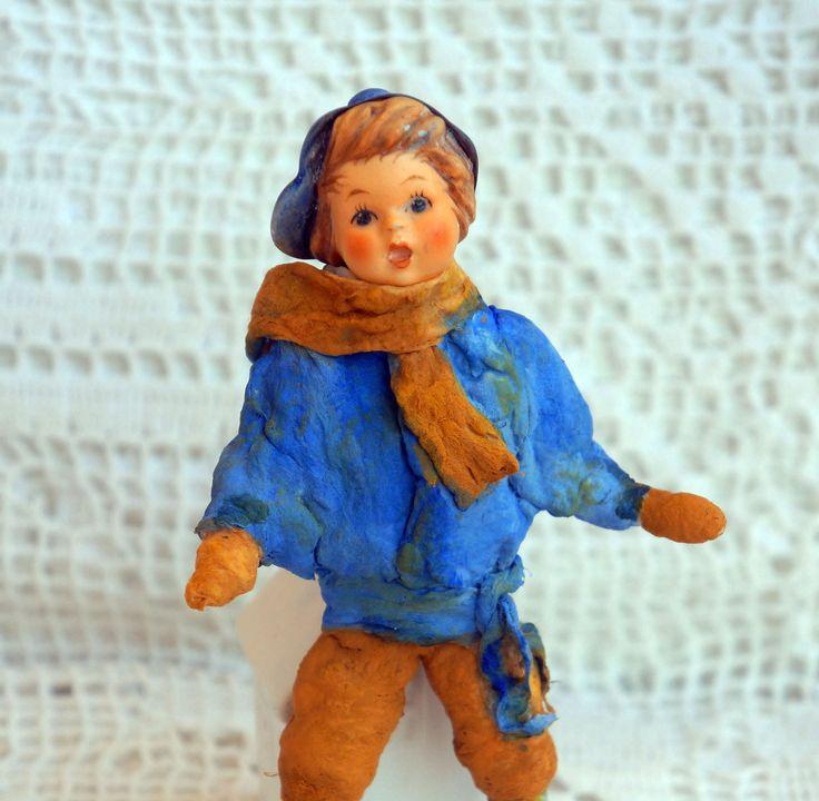 Spun cotton little Prince - Spun cotton ornament - Cotton Batting - Spun Cotton Vintage Style - Hummel boy by RussianshawlRustic on Etsy