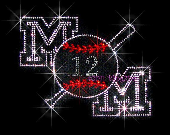 mOm Baseball Bat - Pick Your 2 Custom Numbers - Iron on Rhinestone Transfer Bling Hot Fix Sports Mom - DIY on Etsy, $11.99