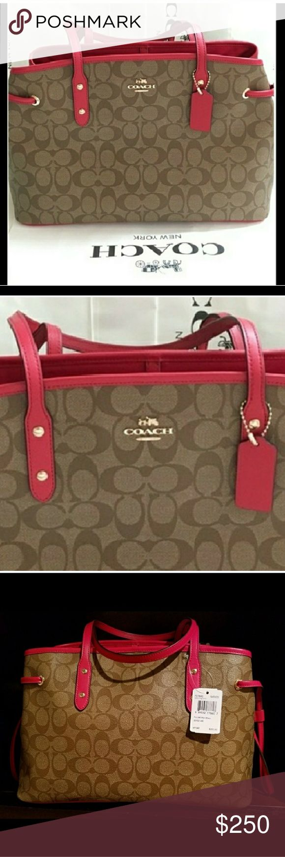 100%Authentic Coach Bag/ brand new w tags Less thru pay🅿al or Merc ----  Gorgeous 100% authentic Coach handbag brand new with tags never used ! Perfect for spring & summer. Also comes with dust bag. Very roomy. I will specify the dimensions in a short while. +VS FREEBIES all brand new! With any purchase! Coach Bags Satchels