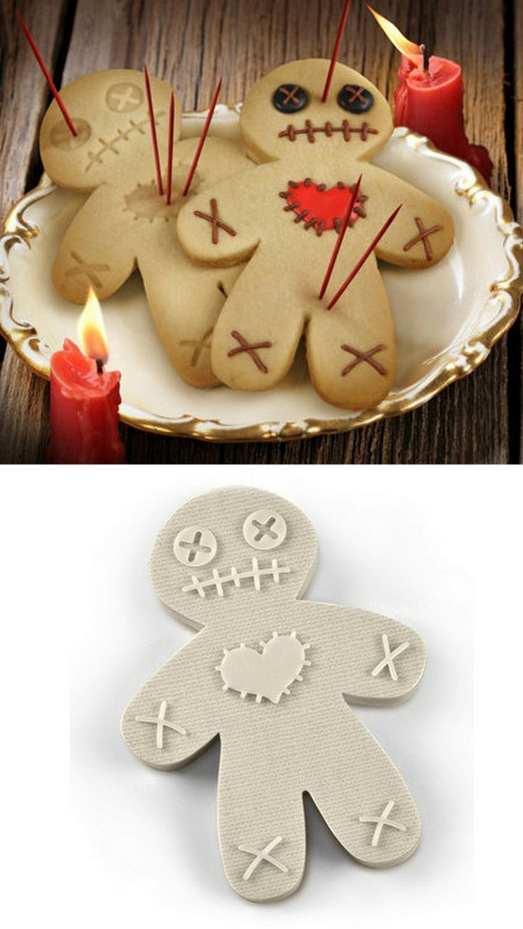 """""""Voodoo Gingerbread Man Cookie Cutter"""" wish this wasn't sold out! It's so cute! Fun halloween cookie idea! Can still decorate gingerbread men like this at least :)"""