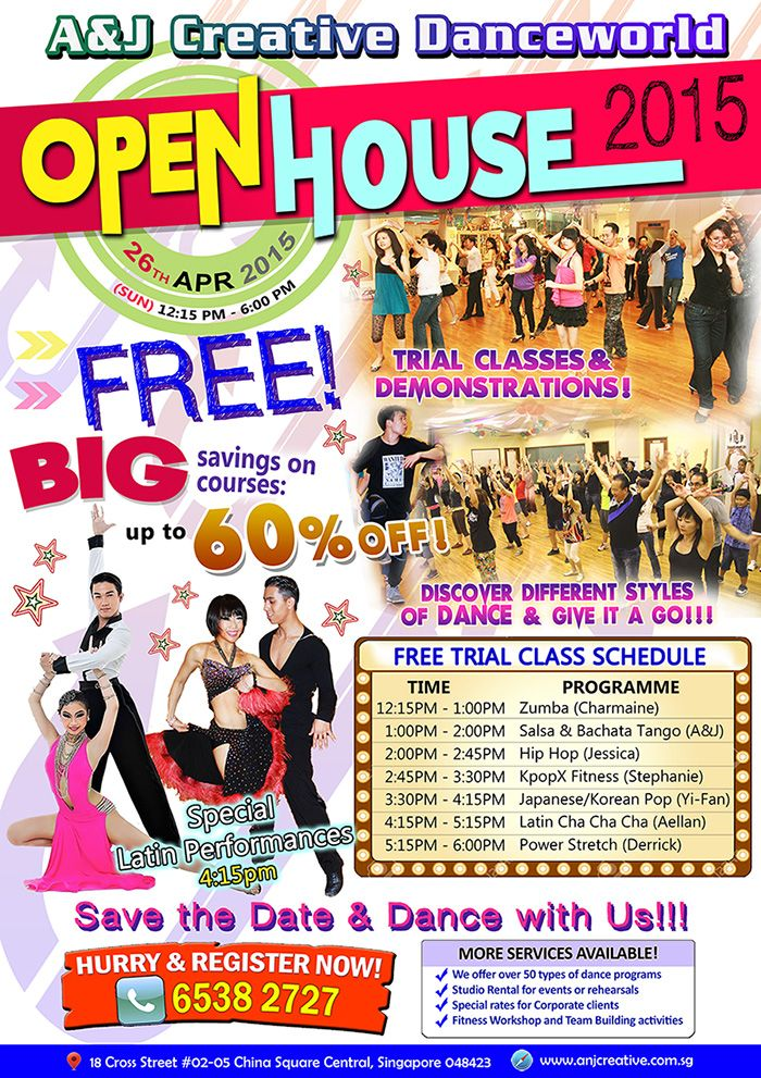 FREE Dance Class @ A&J Open House on 26th April 2015 #FreeDanceClass #LatinDance #Singapore #SG50 #Zumba #HipHop #KpopXFitness #PowerStretch #Dance #Fitness #Workout #FreeTrial Share and invite all of your friends to try our dance classes for FREE!!! Call 6538 2727 now to register