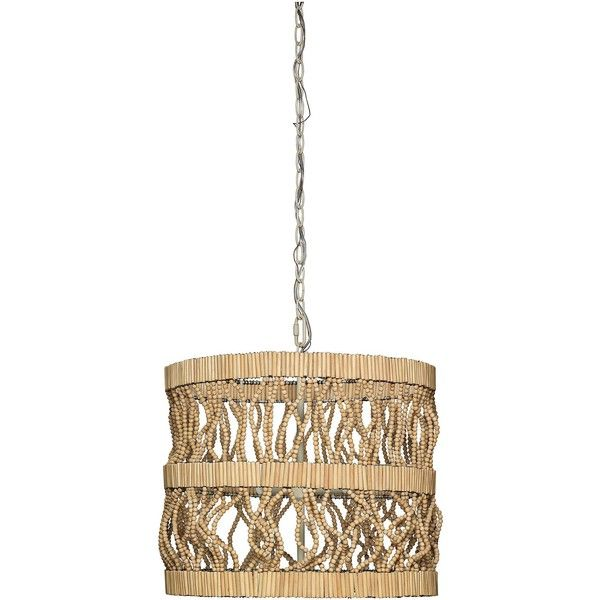 """Jamie Young Company Jamie Young Tropos 19"""" Wide Natural Wood Pendant ($1,075) ❤ liked on Polyvore featuring home, lighting, ceiling lights, brown, chandeliers, wood chandelier lighting, chain lamp, wooden bead chandelier, chain lighting and wooden ceiling lights"""