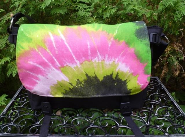 Green and pink faux tie dye Zelda Messenger Bag, Zoe's Bag Boutique