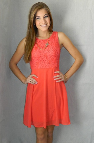 Cute in Coral Dress | Girly Girl Boutique