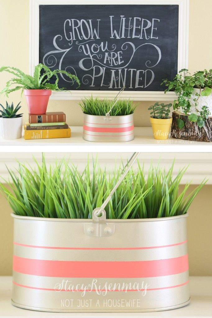 Old Bucket Repurposed Gold Metal Planter Best Of