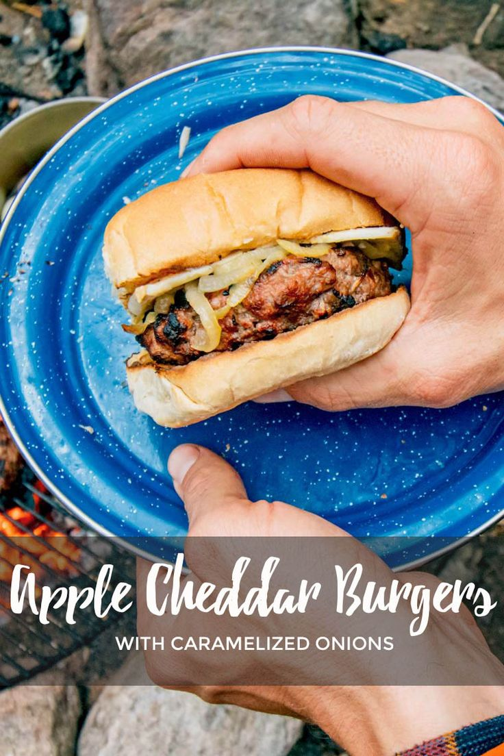 Grilled apple cheddar burgers with caramelized onions - perfect for your next camping trip or backyard BBQ! via @freshoffthegrid