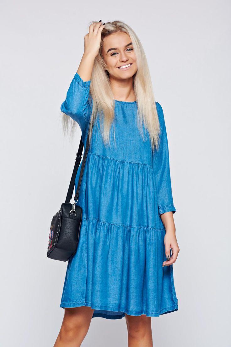 Top Secret blue casual flared denim dress, easy cut, 3/4 sleeves, thin fabric, denim fabric