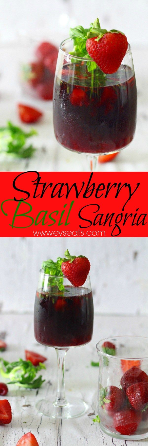 This Strawberry Basil Sangria takes the strawberry and basil combination to the next level! Perfect drink to accompany all your grilling recipes this summer. Check out www.evseats,com for more cocktail recipes.