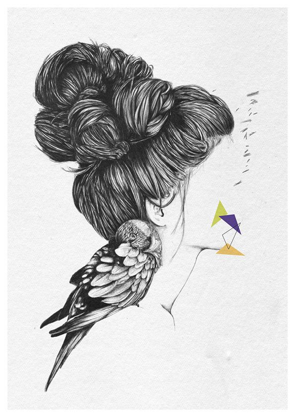 Un rêve oublié - A4 print by Cheyenne Illustration  ::idea:: with bunnies and long hair that turns into woods