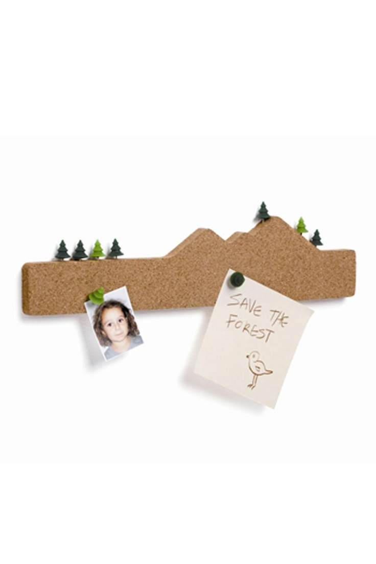 """MEMO MOUNTAIN CORK BOARD WITH TREE PUSH PINS  -a bit ironic to write """"save the forest"""" on a piece of paper and pin it to a cork board."""