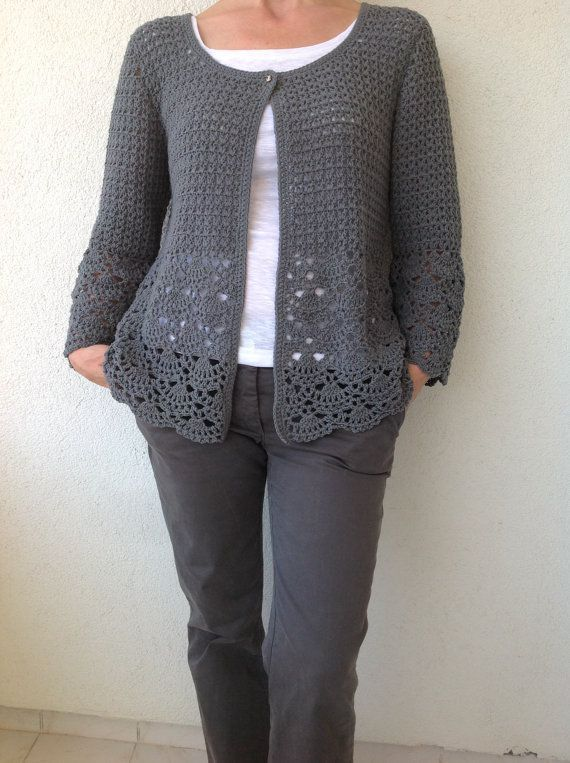 Le donne Crochet Cardigan/Gray Crochet Jacked/uncinetto cotone