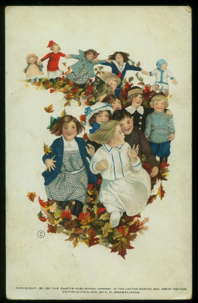 Back To School Antique Postcard Rally Day Edwardian Children Fall Leaves F M Braselmann Paper Ephemera Used