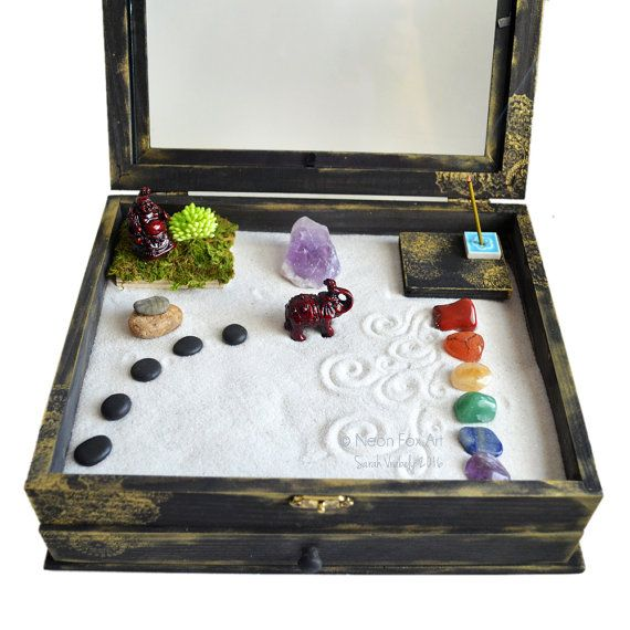 Zen Garden Meditation Box // MADE TO ORDER // Buddha Statue // Altar Kit // Metaphysical Shrine // Wooden Box // Crystal Display // DiY Kit