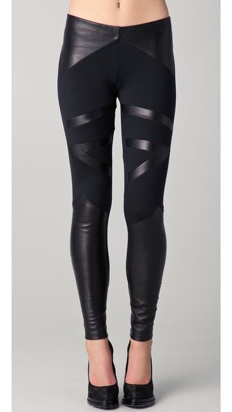 David Lerner Tribal Leather Insert Leggings...I WANT THESE