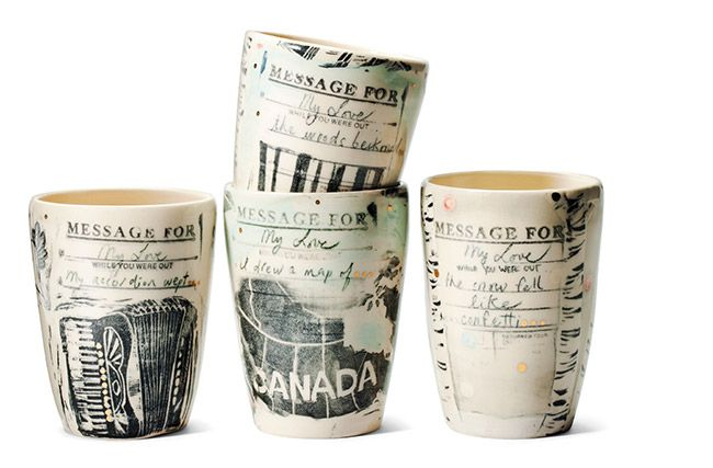 Porcelain Message Cups by April Gates of Blackbird Pottery