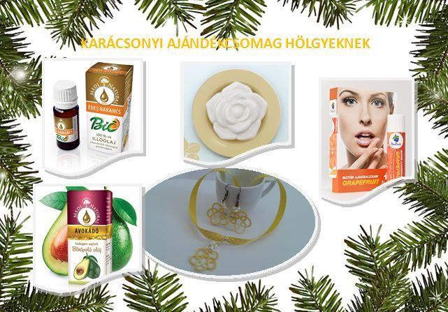 """""""Karácsonyi ajándékcsomag hölgyeknek"""" Az ajándékcsomag tartalma: * 1 db, Hideg illóolajos párologtató - rózsa alakú kőből és sárga tálkával készült * 1 db, BIO Narancs illóolaj, 5 ml - 100%-os * 1 db, Ajakbalzsam, grapefruit illóolajjal - természetes * 1 db, Kézműves, egyedi, hajócsipke ékszer-szett, pöttyös szalaggal (nyaklánc+fülbevaló pár) * 1db, Hidegen sajtolt Avokádó Olaj,  20 ml - a természetes haj- és bőrápoló olaj"""
