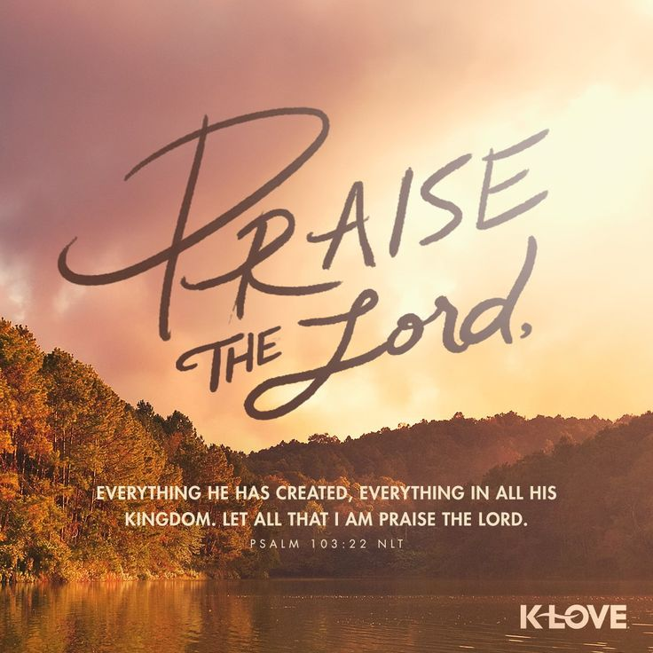 K-LOVE's Verse of the Day. Praise the Lord, everything he has created, everything in all his kingdom. Let all that I am praise the Lord. Psalm 103:22 NLT