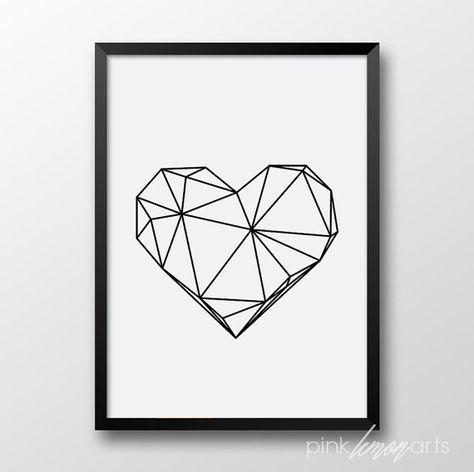 Impresión de corazón geométrico arte escandinavo por PinkLemonArts