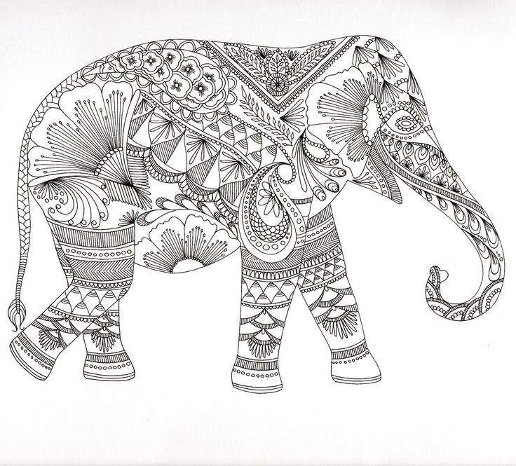 Adult Mandala Coloring Pages Elephant For Adults Tone