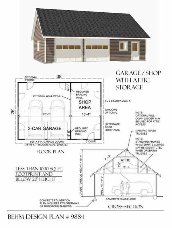 2 Car Attic Roof Garage With Shop Plan 988 1 By Behm Design