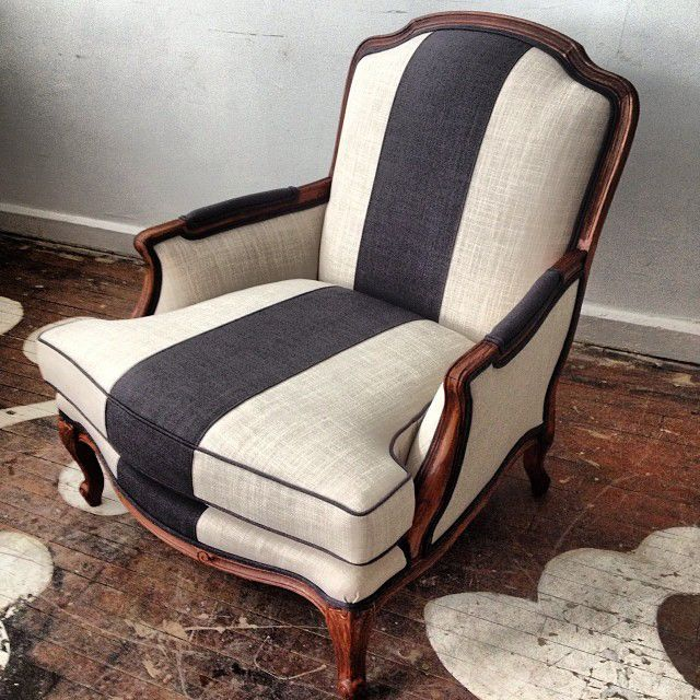 Pretty stripe chair collaborative bergere redo @designmanifest @Maxwell Salzberg Fabrics