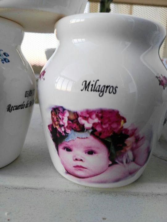 Calcos vitrificables full color fotográficos para souvenir de nacimiento y bautismo (foto cortesía de Desdeana).
