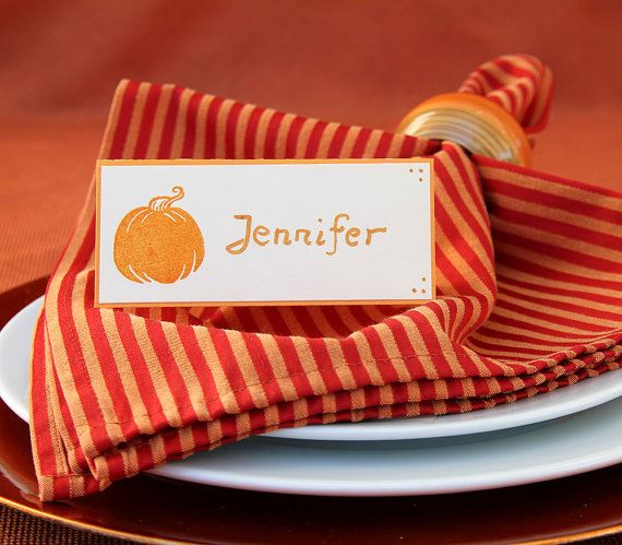 Pumpkin Place Cards for Thanksgiving or Fall Dinner Table Decoration – Set of Handmade Name Cards – Orange Autumn Tent Seating Cards