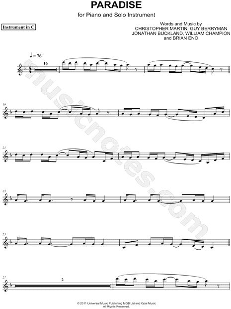 Paradise - C Instrument sheet music by Coldplay