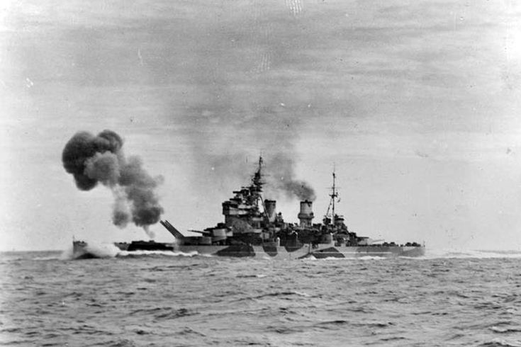 HMS Anson on sea trials firing her guns in the North Sea. June 18-21, 1942. Photo: Lt. C. J. Ware. Imperial War Museums A 10150