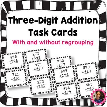 24 Three Digit Addition Task Cards- With and Without Regrouping with recording sheet and answer key. These task cards can be used for small group, whole-group for review, or as a scoot game!If you like this product please leave feedback and follow my store to get updates on new products!Check out my other Addition and Subtraction Task Cards!Adding Three-Digit NumbersThree Digit Subtraction Task Cards- With and without regroupingThree-Digit Addition Task CardsFour-Digit Addition Task Cards…